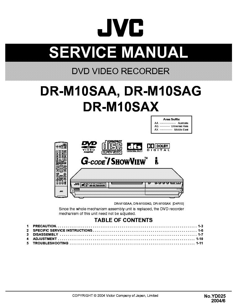 JVC DR-M10 SAA SAG SAX SM