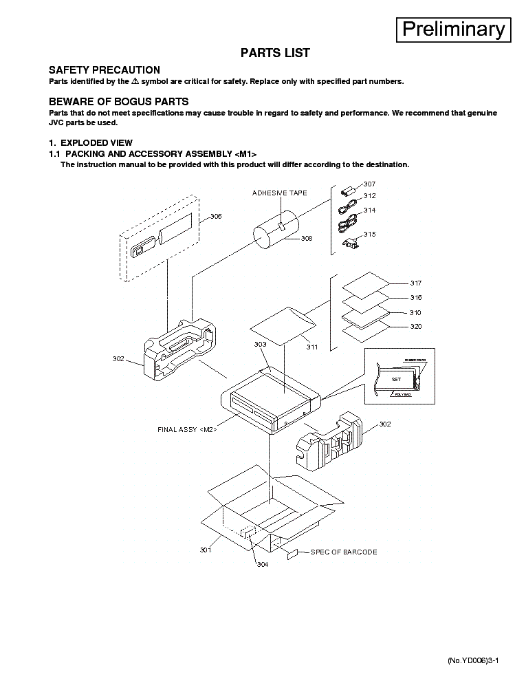 JVC       DR   MV1 PARTSLIST Service    Manual    download     schematics