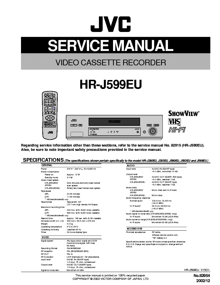 JVC HR-J599EU MECHANIKA
