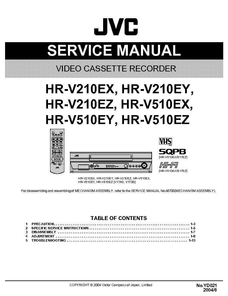 JVC HR-V210 V510-EX EY EZ service manual (1st page)