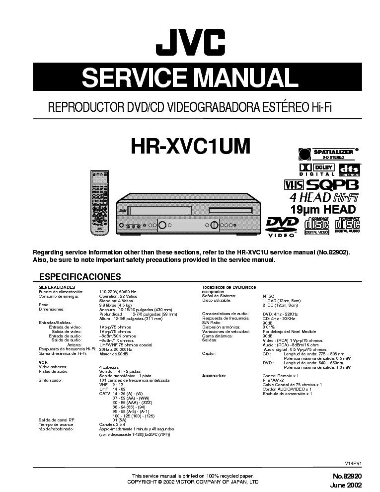 jvc hr xvc1um dvd vcr service manual download schematics eeprom rh elektrotanya com jvc sqpb vcr manual jvc vcr manual model #hr-j643u
