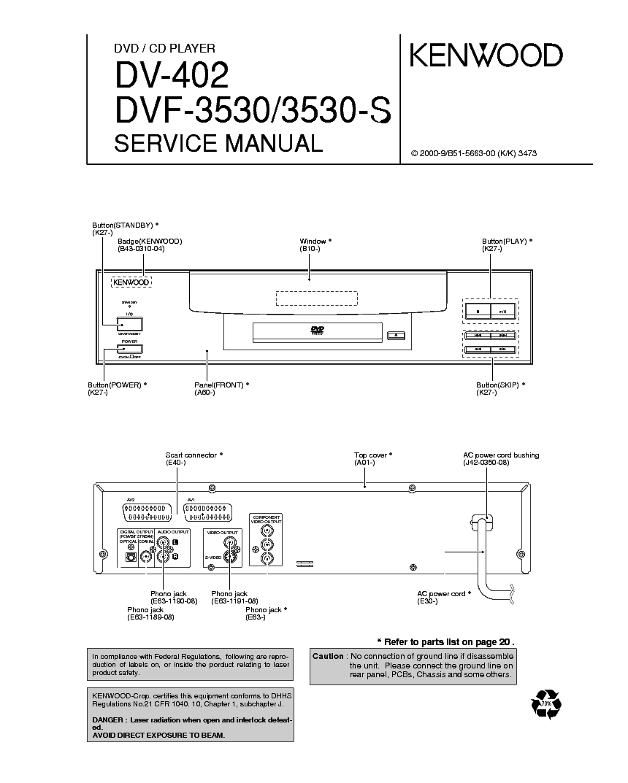 KENWOOD DV-402 DVF-3530 3530S SM service manual (1st page)