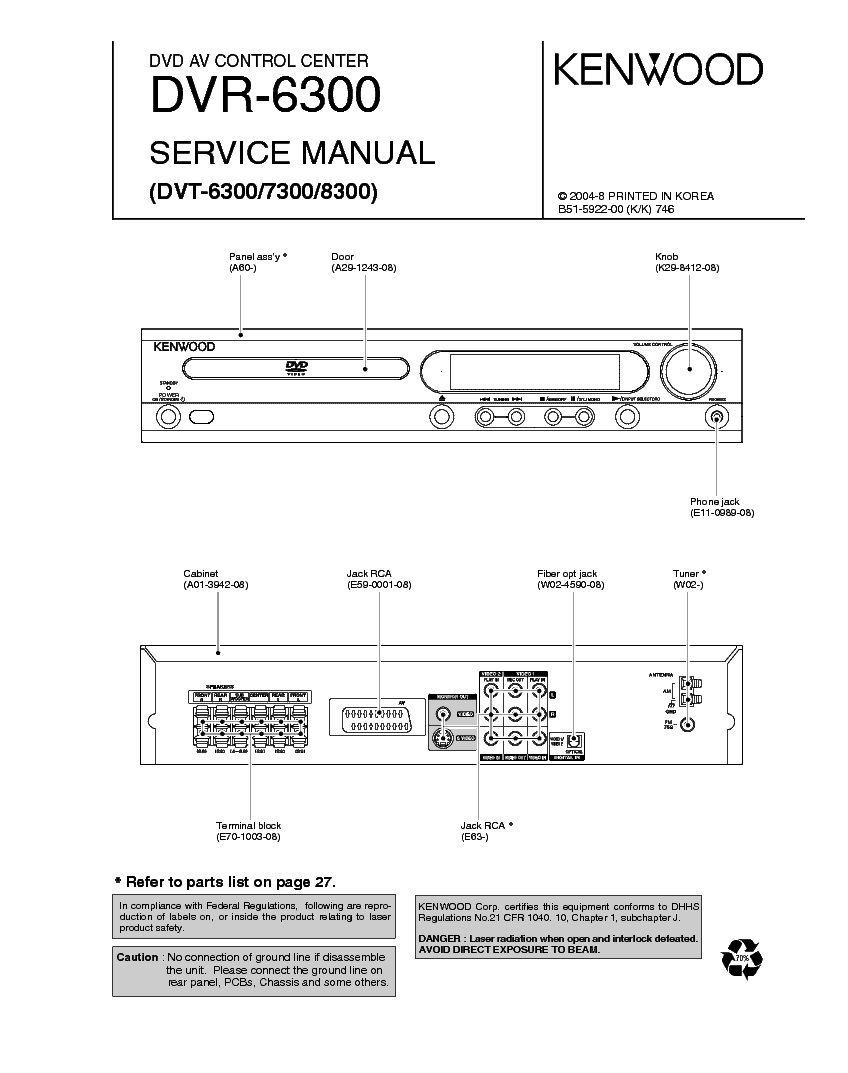 KENWOOD DVR-6300,DVT-6300,7300,8300 service manual