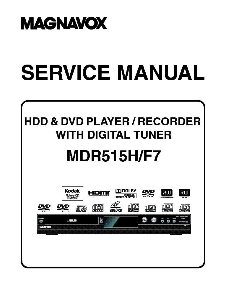 MAGNAVOX MDR515H F7 SM Service Manual download, schematics, eeprom