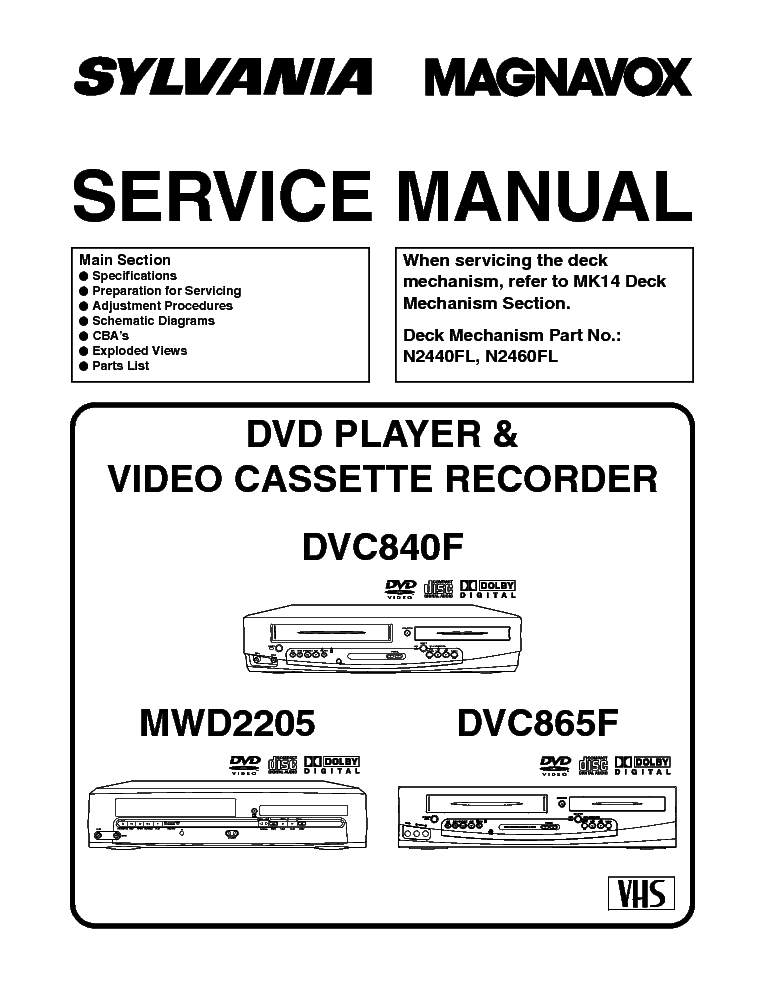 MAGNAVOX SYLVANIA DVC840F DVC865F MWD2205 Service Manual download