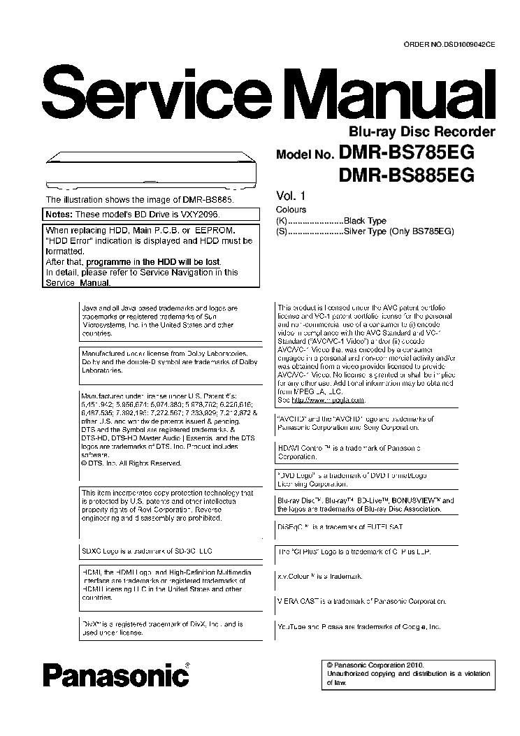 PANASONIC DMR-BS785EG RECORDER DOWNLOAD DRIVER