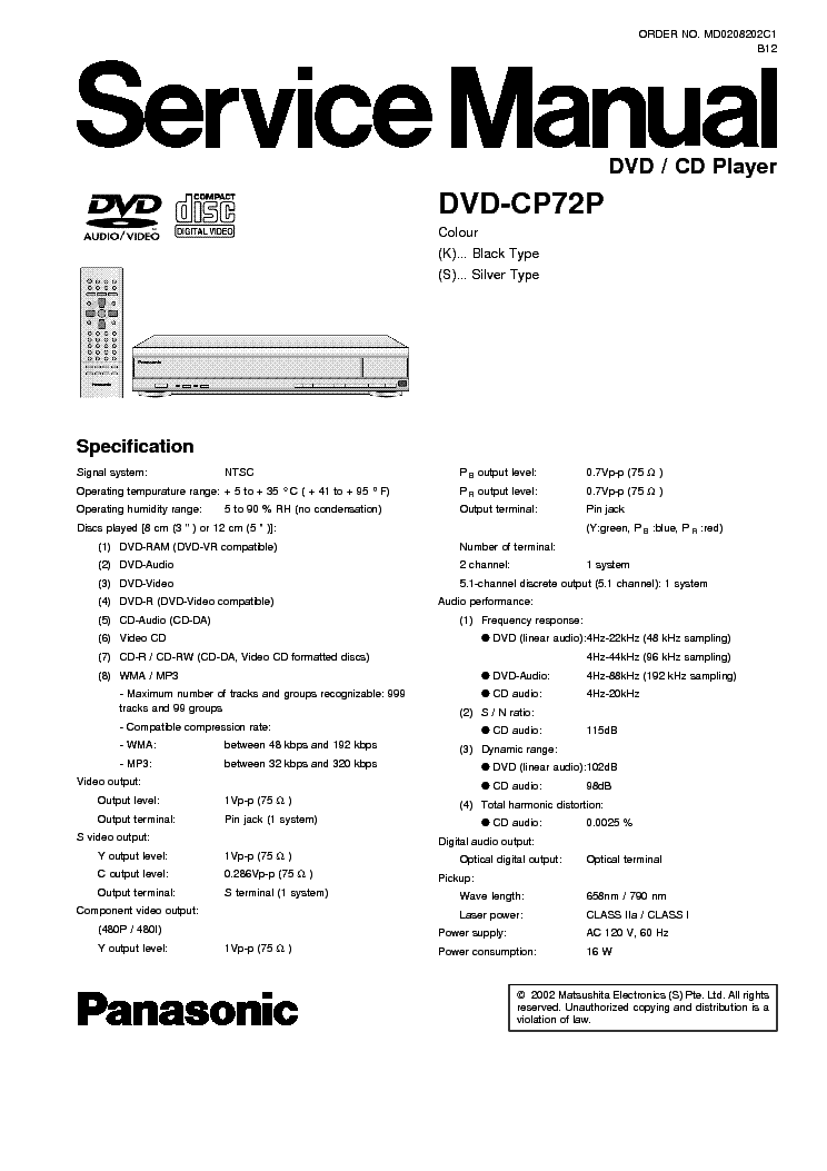 panasonic dvd cp72p sm service manual download schematics eeprom rh elektrotanya com panasonic dmp bd60 manual panasonic blu ray dmp-bd30 manual