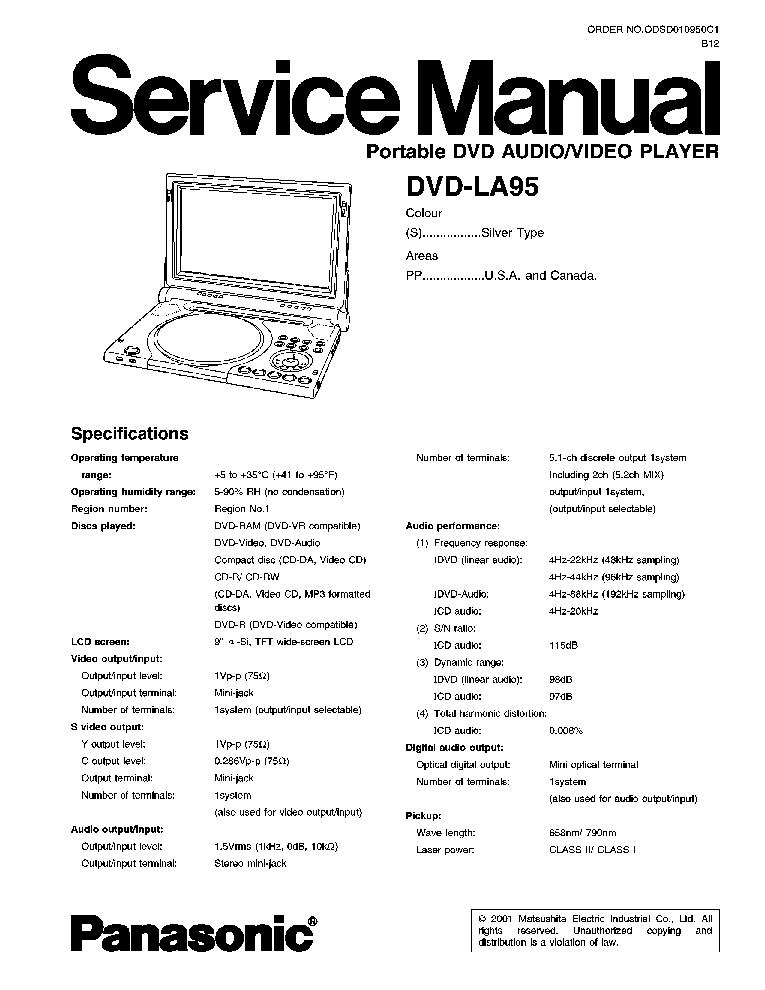 panasonic dvd-la95 инструкция