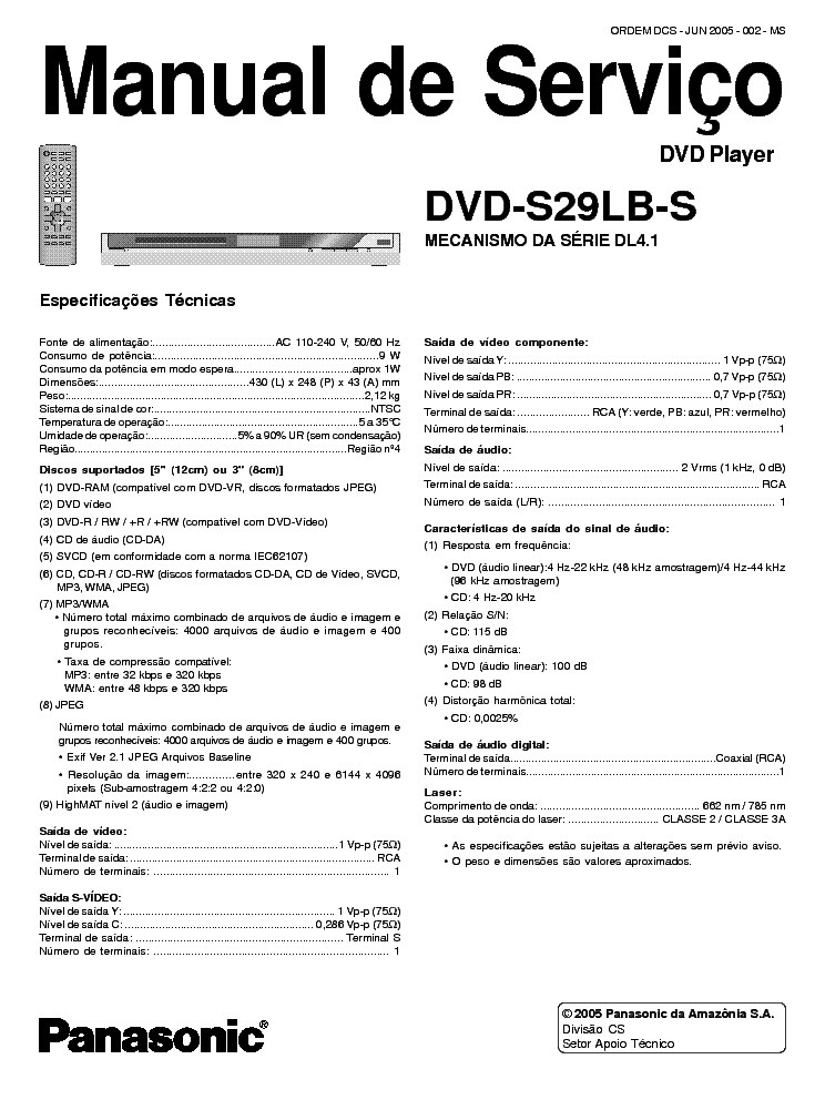 PANASONIC DVD-S29LB-S service manual