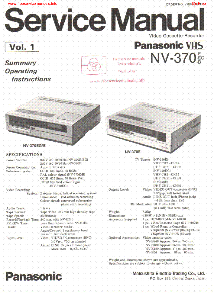 panasonic nv 370 sm service manual download schematics eeprom rh elektrotanya com manual telefono inalambrico panasonic gratis Panasonic.comsupportbycncompass