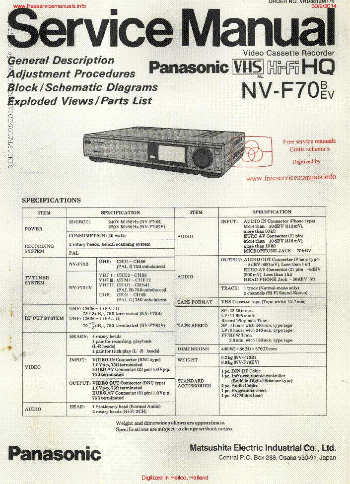 panasonic nv f70 sm service manual download schematics eeprom rh elektrotanya com Panasonic Owner's Manual Panasonic Cordless Phones
