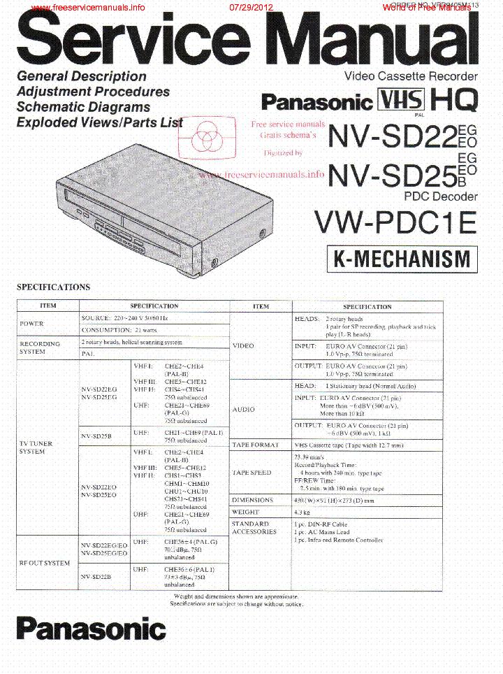 PANASONIC NV-SD22 NV-SD25 VW-PDC1E service manual (1st page)