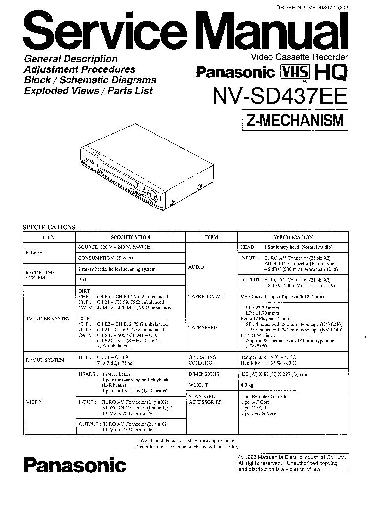 PANASONIC NV-SD437EE SM service manual (1st page)