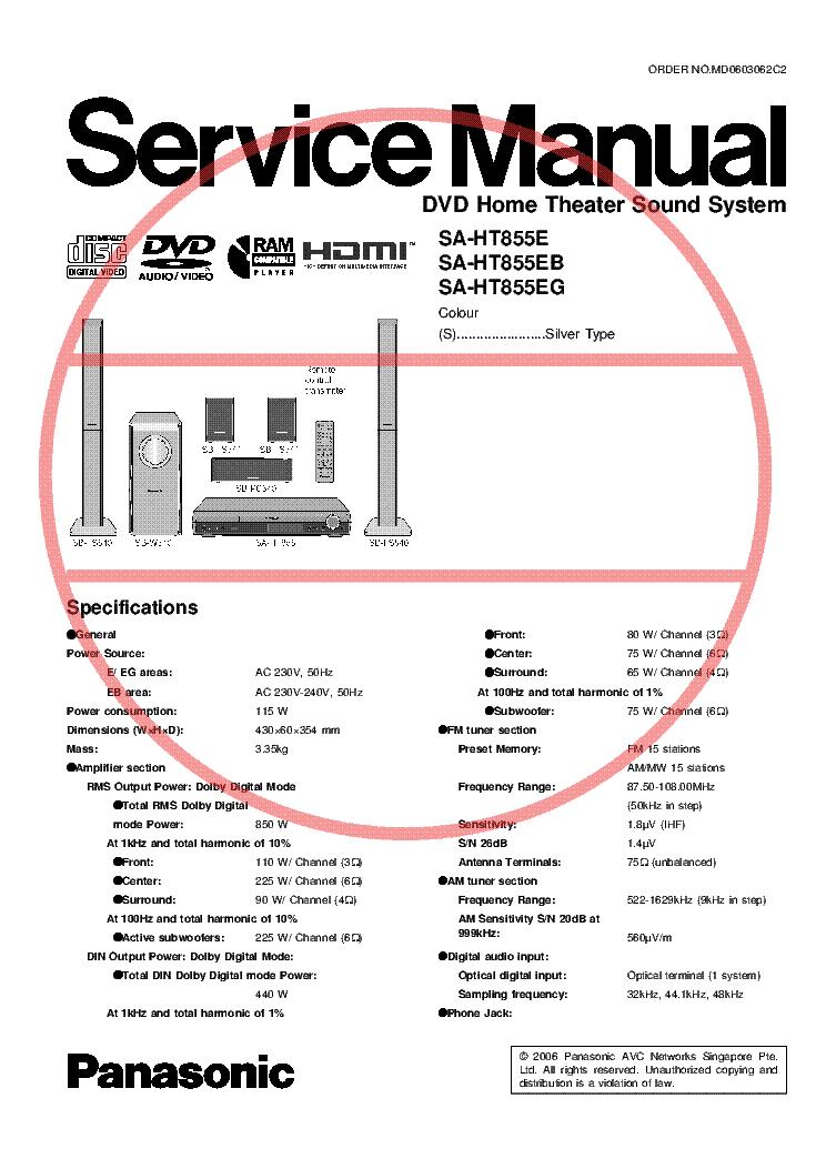 Panasonic home theater manual in the svenska swedish language.