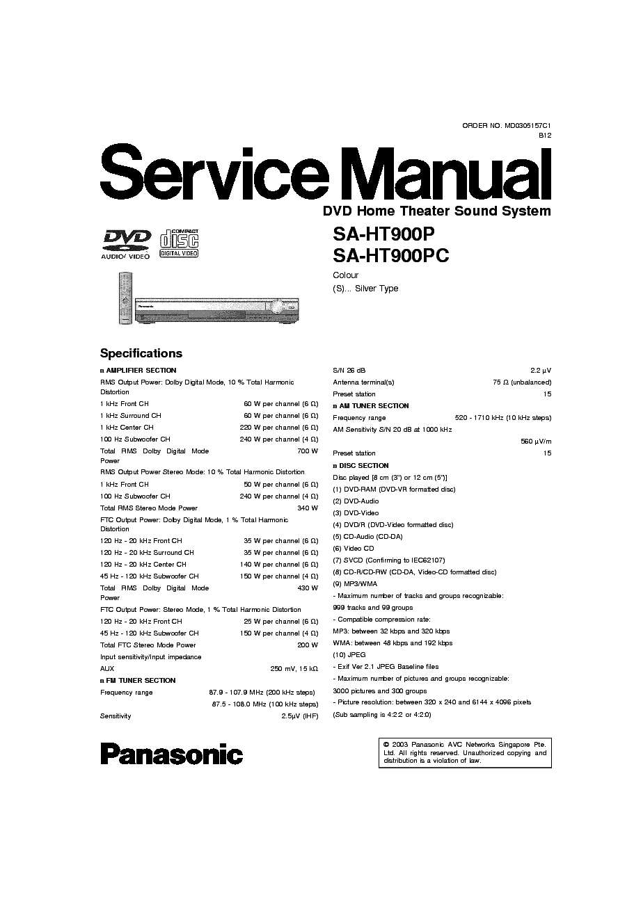 panasonic sa ht900 service manual download schematics eeprom rh elektrotanya com panasonic sa-ht900 manual pdf