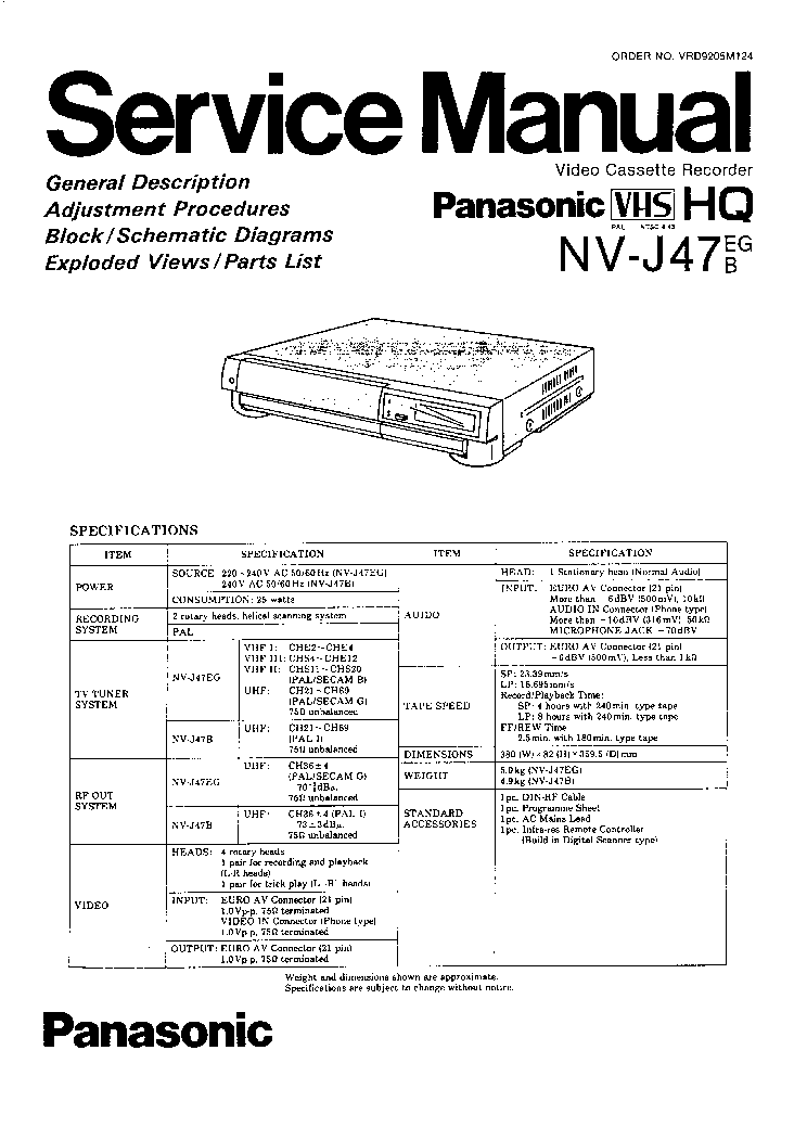 Panasonic Vcr Nv