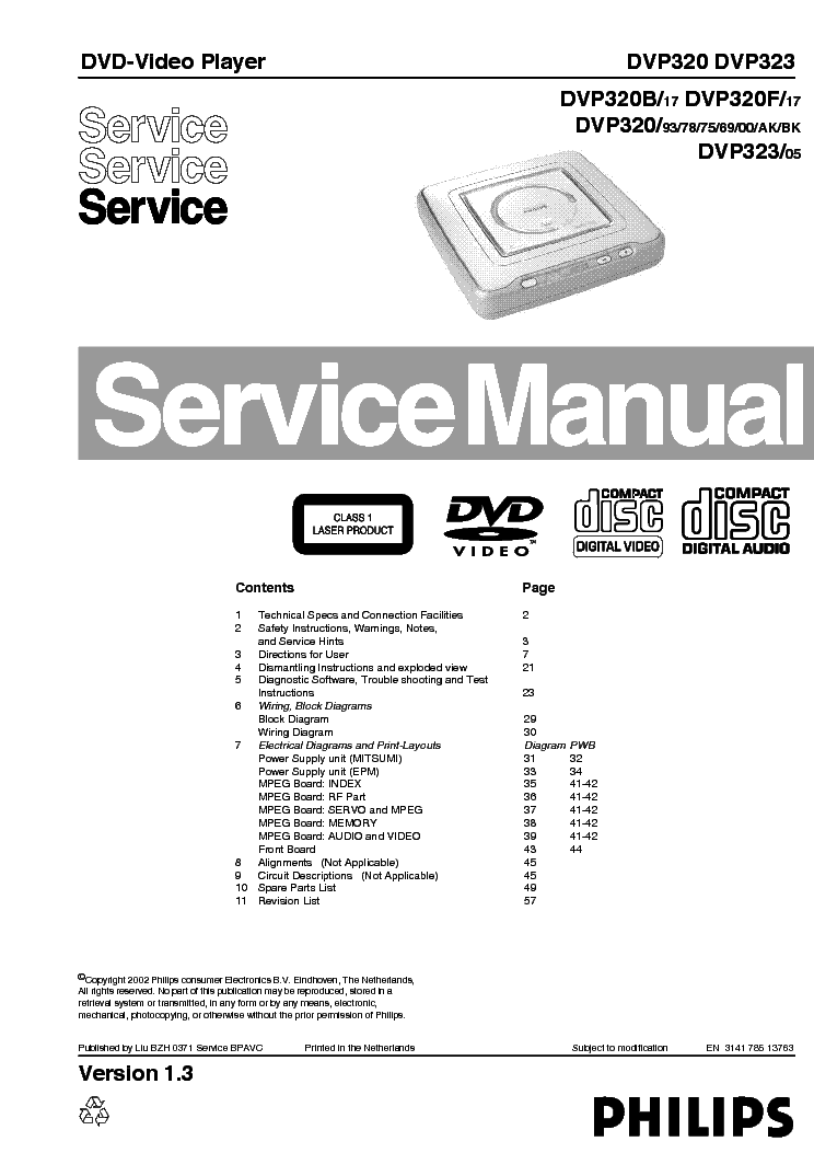 PHILIPS DVP320, 323 PORTABLE service manual (1st page)