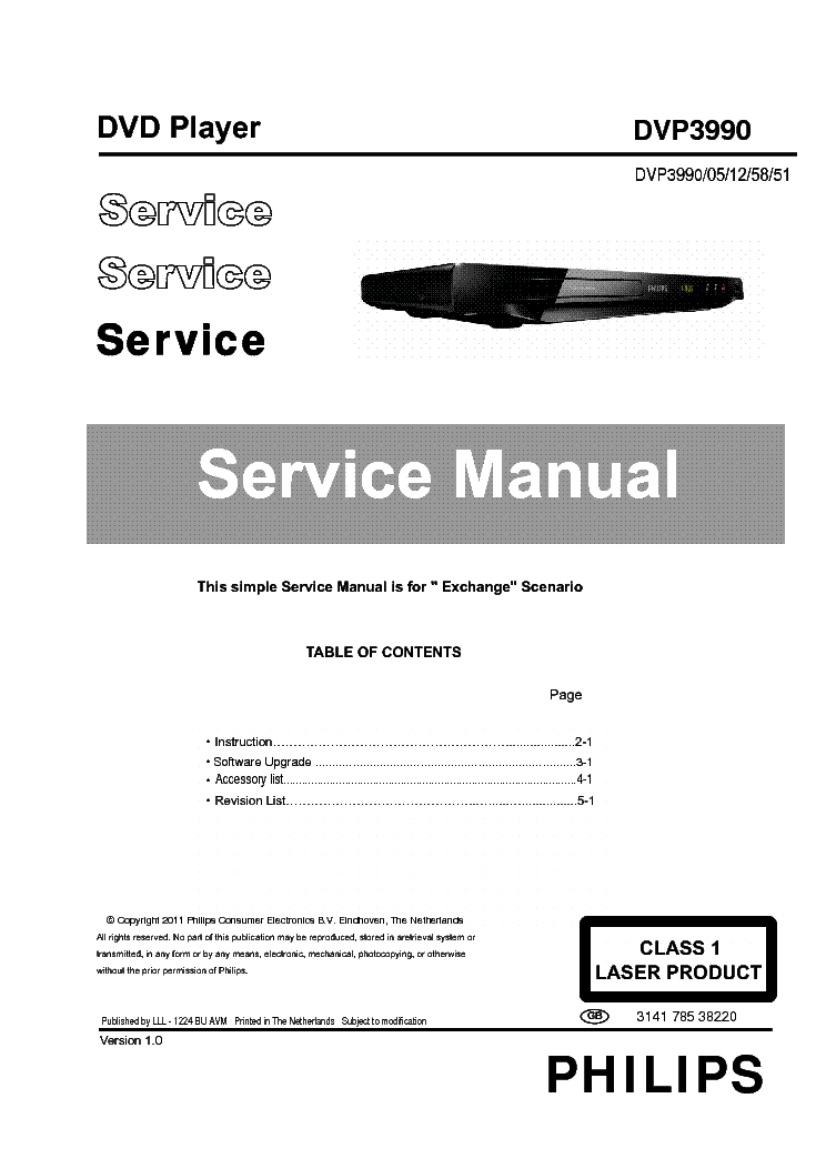 PHILIPS DVP3990 314178538220 VER.1.0 service manual (1st page)