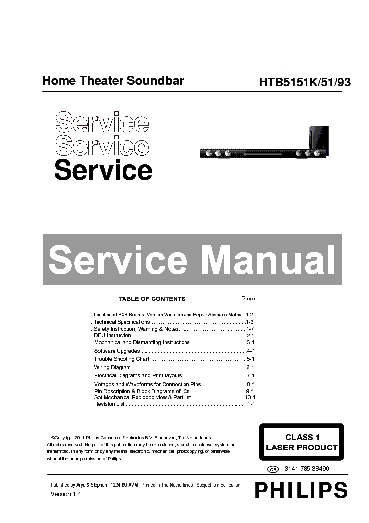 PHILIPS HTB5151K-51-93 314178538490 VER.1.1 service manual (1st page)