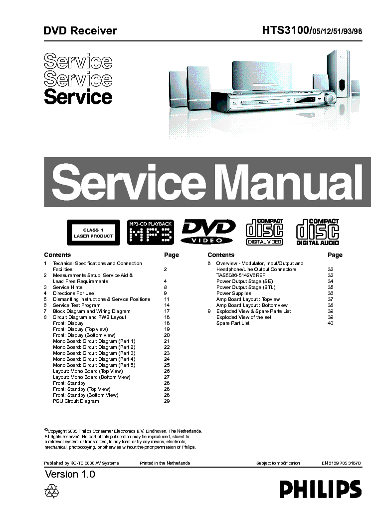 PHILIPS HTS3100 VER-1.0 SM service manual (1st page)