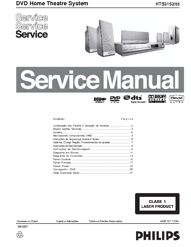 PHILIPS HTS3152 55 SERVICE service manual (1st page)