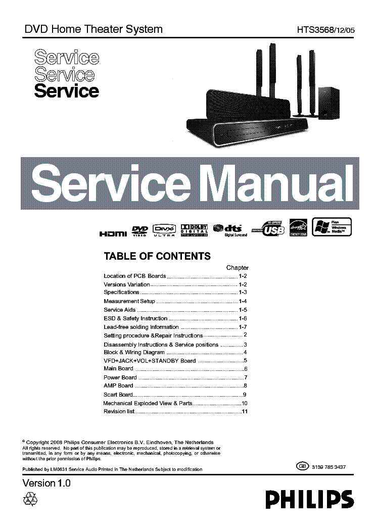 philips hts3568 ver1 0 service manual download schematics eeprom rh elektrotanya com Philips Home Theater Speakers Home Outlet