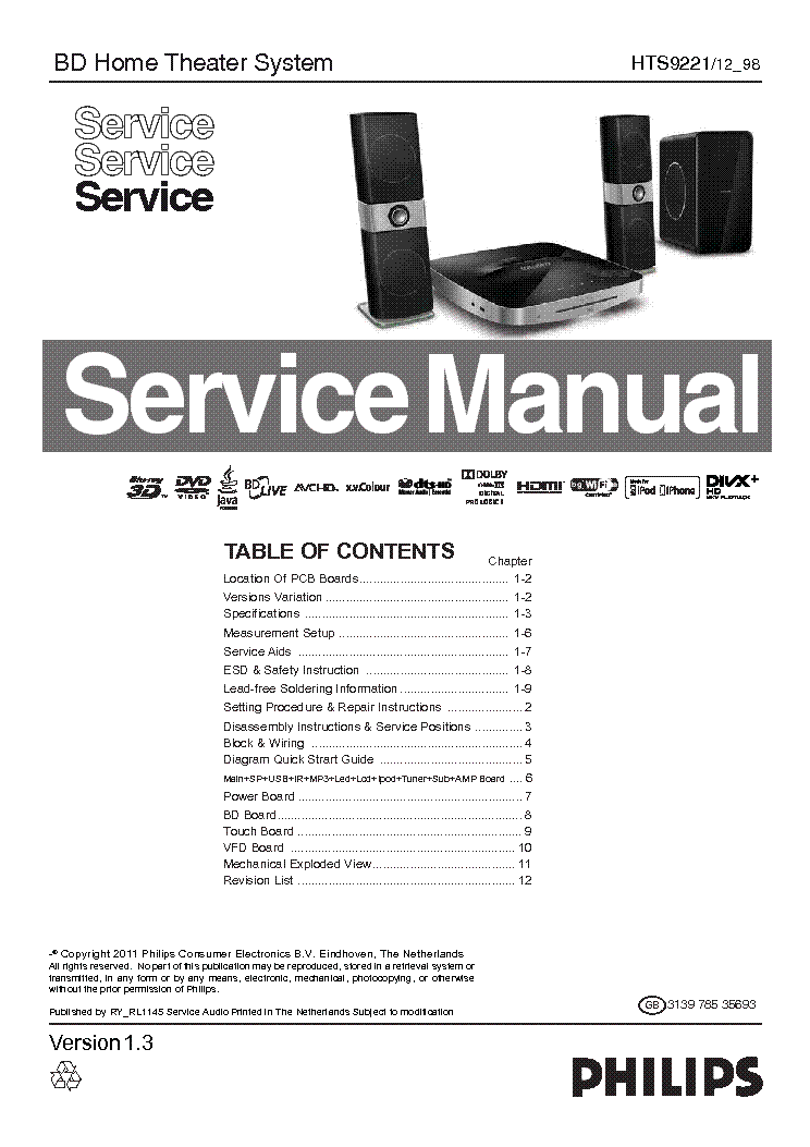 Philips Hts9221 313978535693 Wk1145 4 Rl Ver 1 3 Service Manual Download Schematics Eeprom Repair Info For Electronics Experts