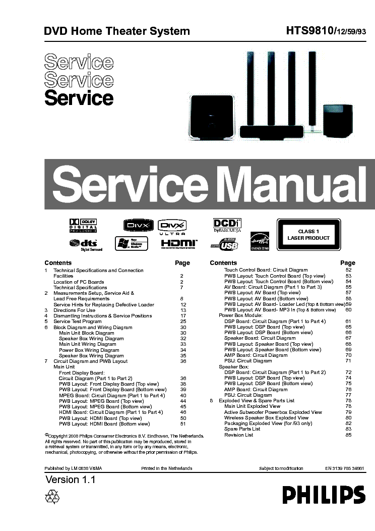 PHILIPS HTS9810 313978534661 VER.1.1 service manual (1st page)