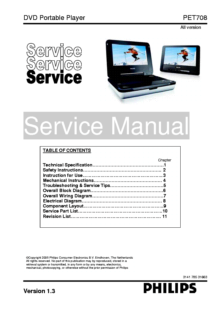 PHILIPS PET-708 service manual (1st page)