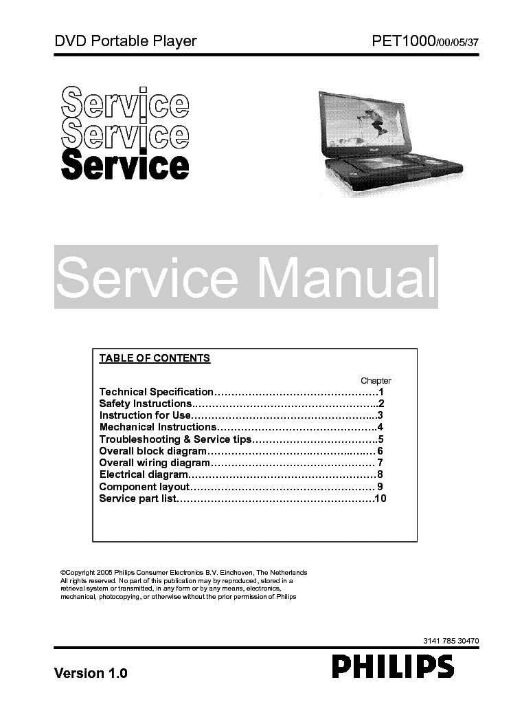 PHILIPS PET1000 DVD SM service manual (1st page)