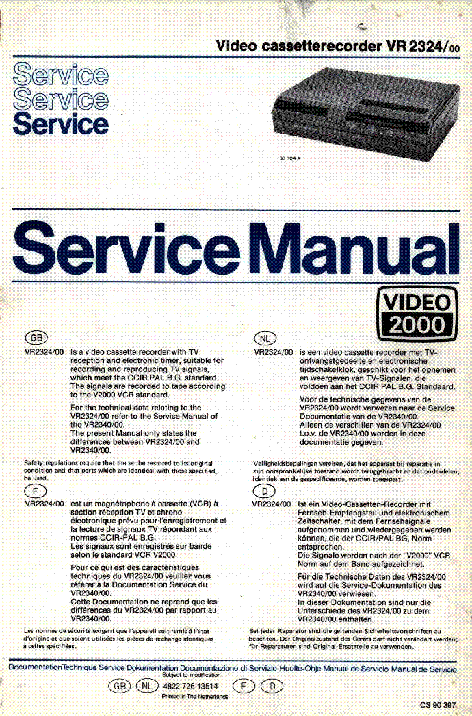 PHILIPS VR2324 VIDEO-2000 service manual (1st page)