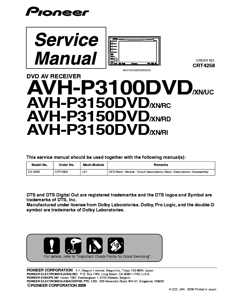 pioneer avh p3100dvd p3150dvd sm service manual download, schematics Pioneer AVH P3100DVD Manual