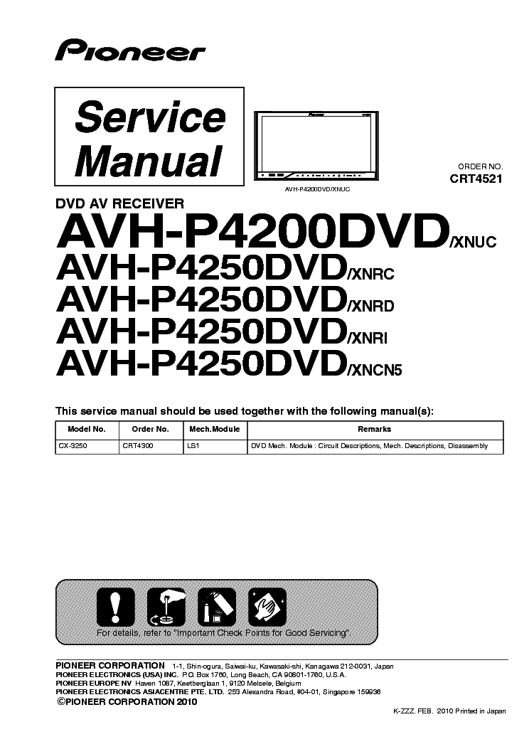 pioneer avh bt installation wiring diagram pioneer automotive avh bt installation wiring diagram pioneer avh p4200dvd p4250dvd sm pdf 1