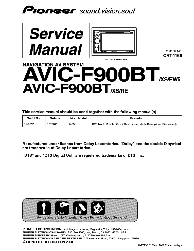 pioneer avic-f900bt service manual (1st page)