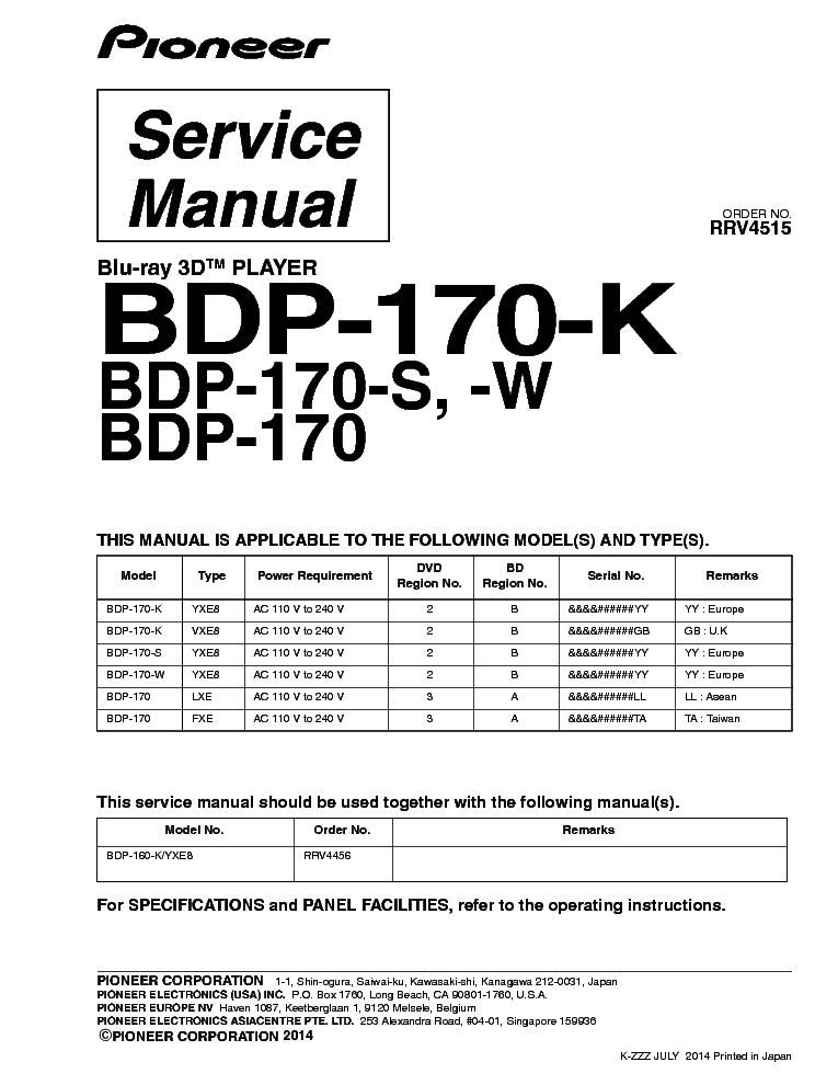 pioneer bdp 180 k manual