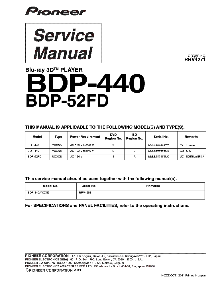 pioneer bdp 440 bdp 52fd rrv4271 service manual download schematics rh elektrotanya com Pro-Form 955R Owner's Manual Pioneer Man Working