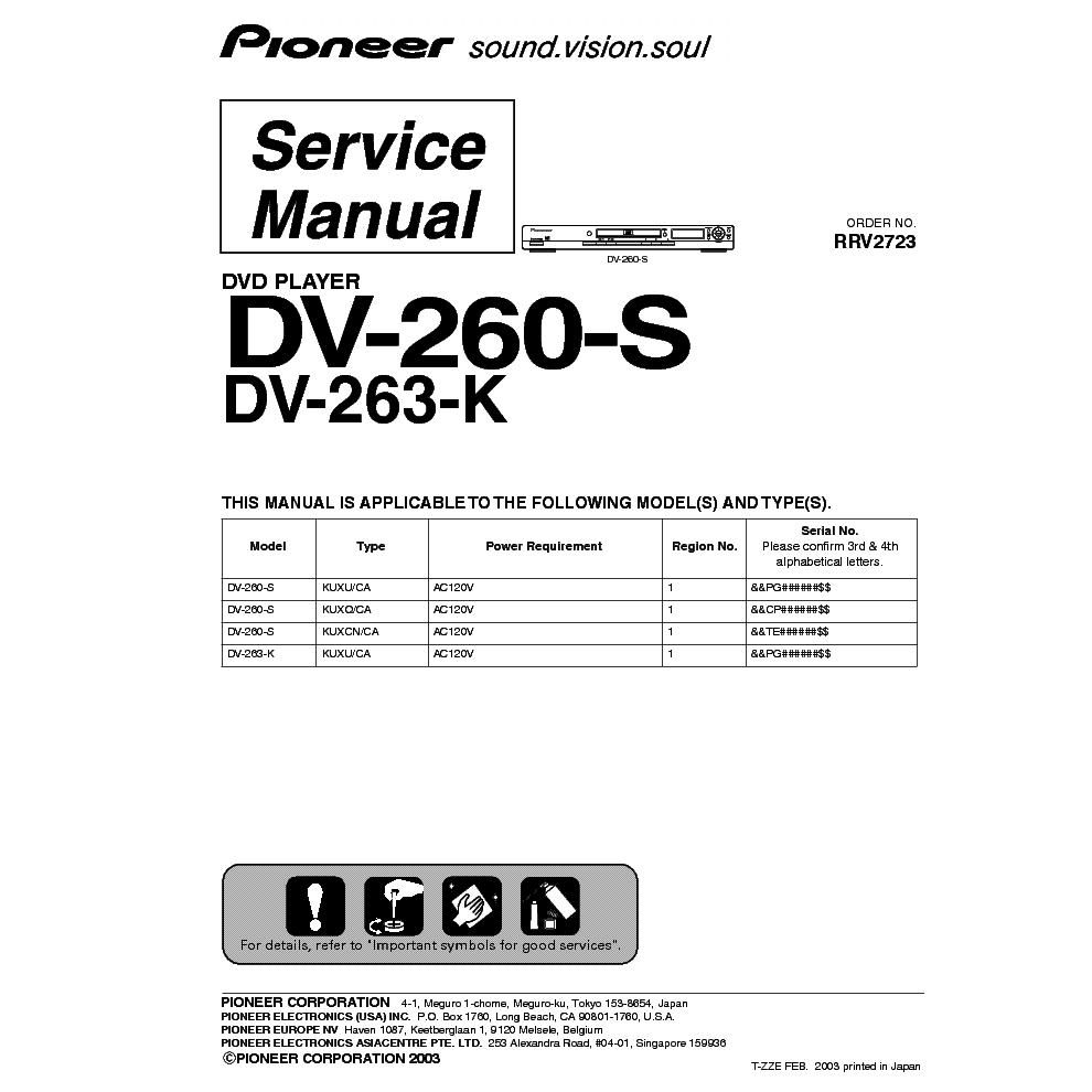 Pioneer Dv260s Service Manual Download Schematics Eeprom Repair. Pioneer Dv260s Service Manual 1st Page. Wiring. Pioneer Avh 4400bh Service Wiring Diagram At Scoala.co