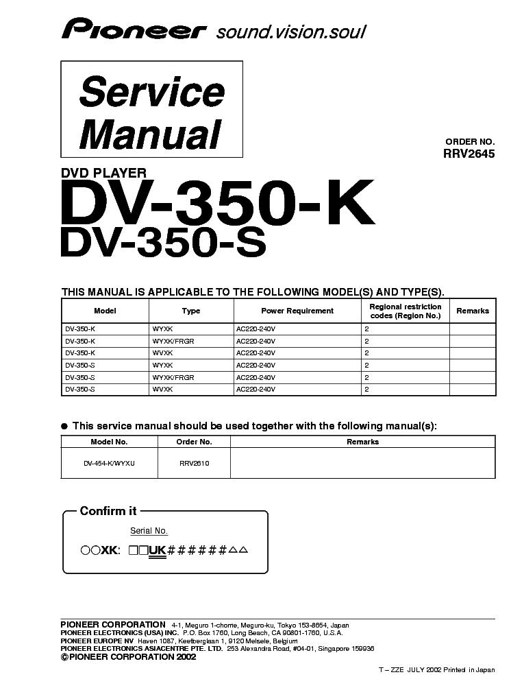 pioneer dv 350 k s rrv2645 dvd player supplement service manual rh elektrotanya com Atari Climber Manual 2600 Pro-Form 955R Owner's Manual