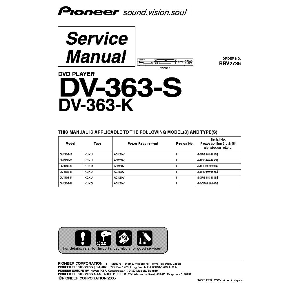 pioneer dv 363 s service manual download schematics eeprom repair rh elektrotanya com Auto Repair Manual Customer Service Books