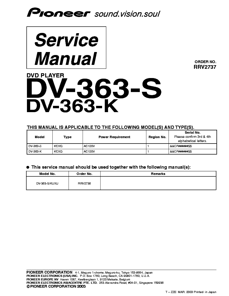 pioneer dv 363 s dv 363 k rrv2737 dvd player supplement service rh elektrotanya com Parts Manual Service Station