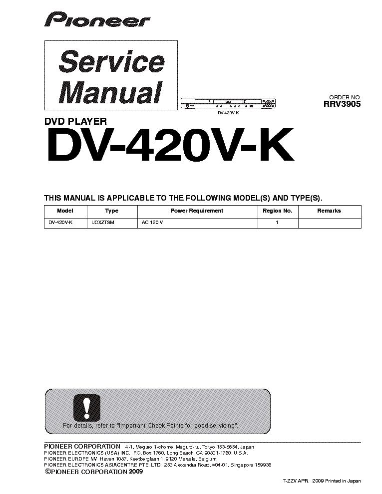 pioneer dv 420v k sm service manual download schematics eeprom rh elektrotanya com Parts Manual Owner's Manual