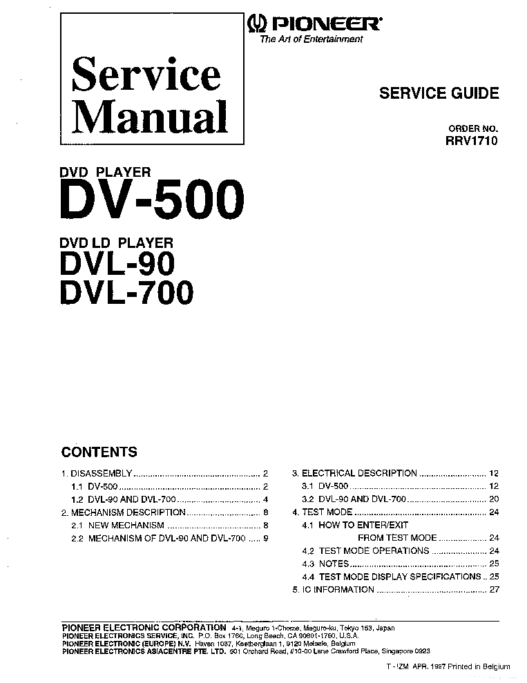 pioneer dv 500 dvl 90 dvl 700 rrv1710 service manual download rh elektrotanya com pioneer dvl-700 user manual PRD Pioneer Customer Connect