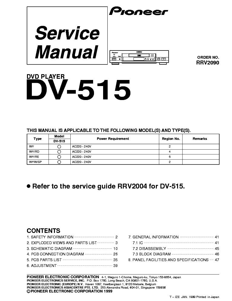 PIONEER DV-600AV-G SCH Service Manual download, schematics, eeprom