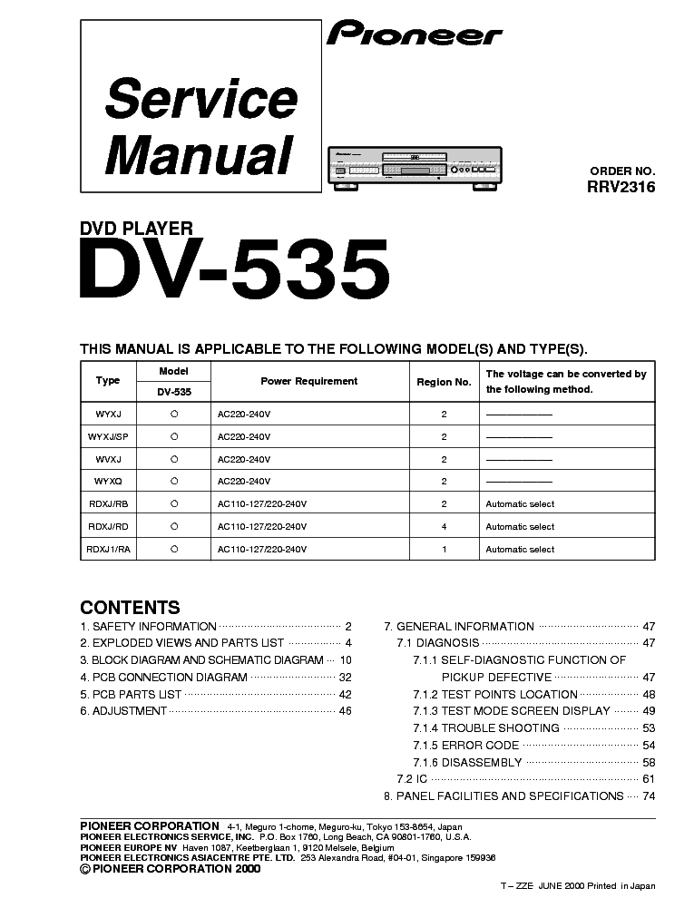PIONEER DV-535 Service Manual free download, schematics, eeprom ...