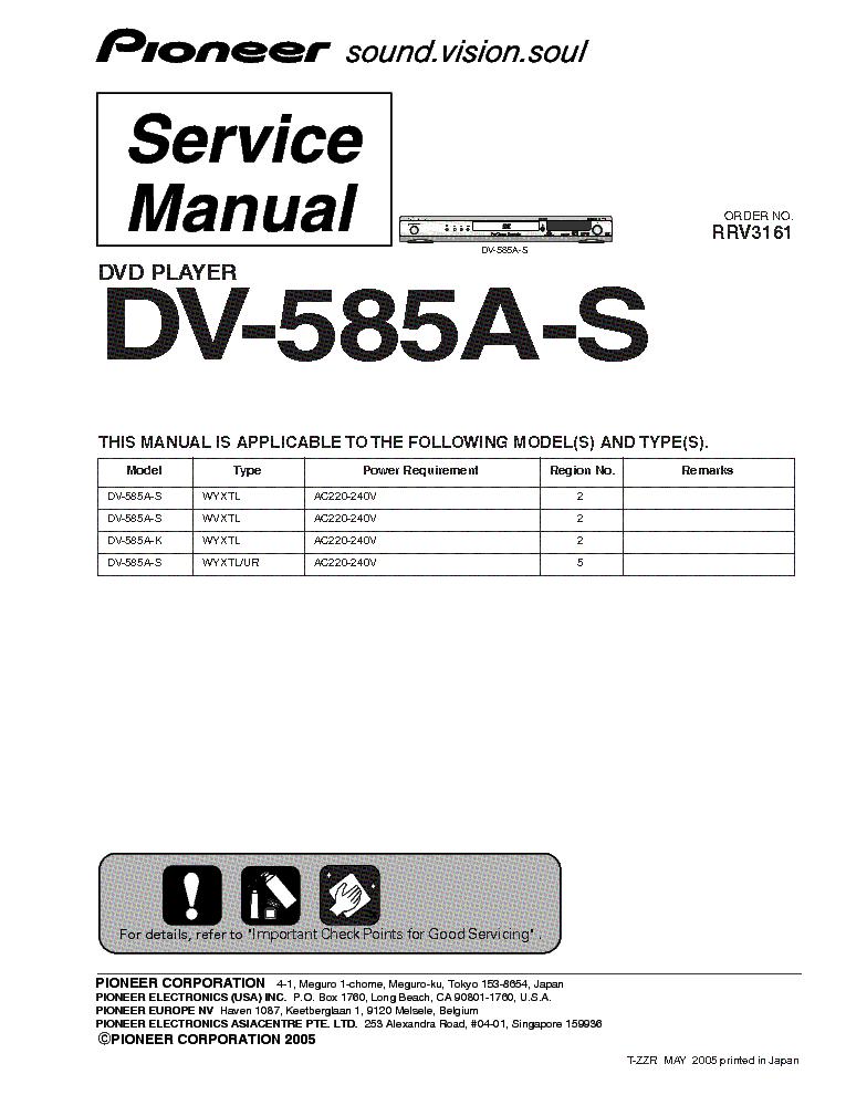 Инструкция pioneer dv 585a