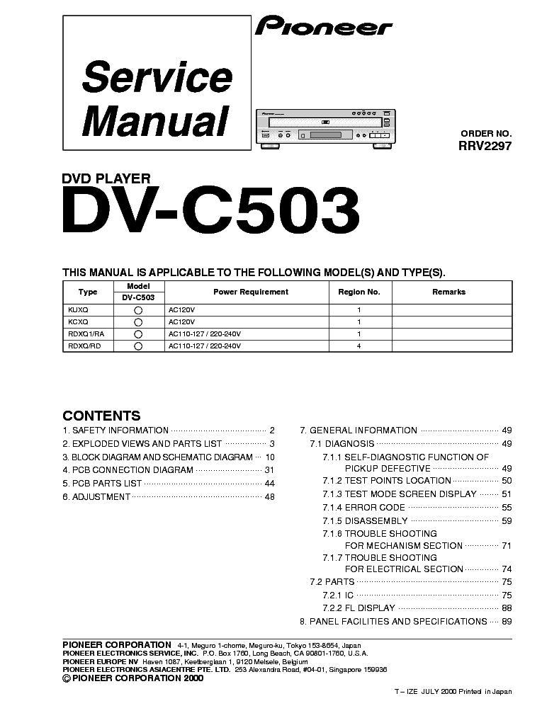 pioneer dvc sm service manual free download, schematics, schematic
