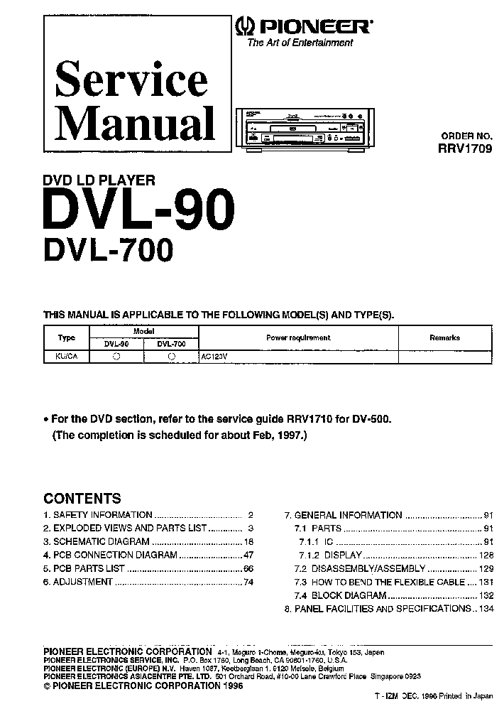 pioneer dvl 90 dvl 700 rrv1709 service manual download schematics rh elektrotanya com Pioneer Laserdisc Player Pioneer Elite