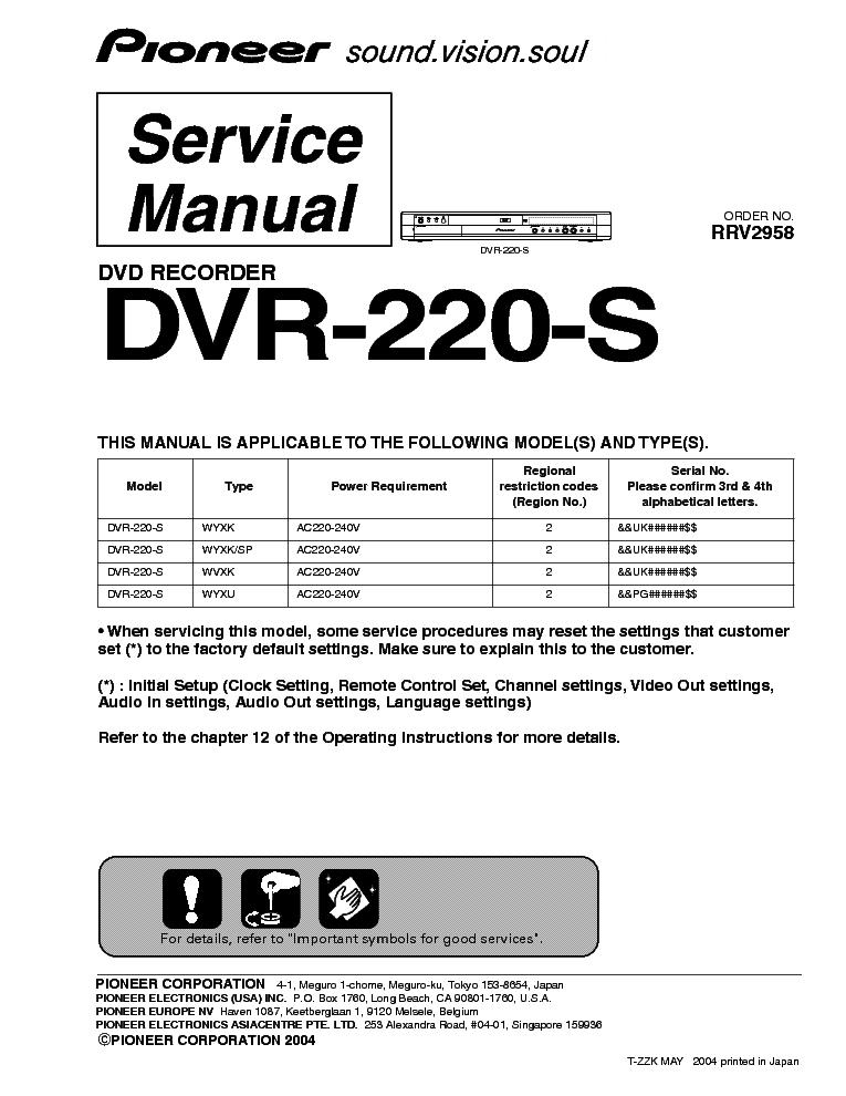 pioneer dvr 220 s service manual download schematics eeprom rh elektrotanya com pioneer dvd recorder dvr-220 manual Motorola DVR Manual