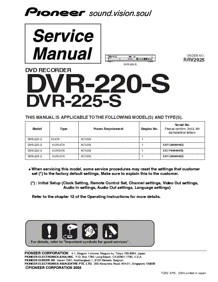 pioneer dvr 220 s 225 s sm service manual download schematics rh elektrotanya com Xfinity DVR Manual Annke DVR User Manuals