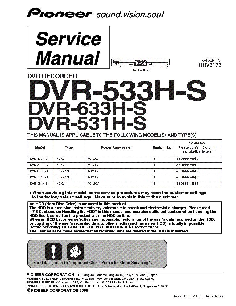 pioneer dvr 531h s dvr 533h s dvr 633h s sm service manual download rh elektrotanya com Xfinity DVR Manual H 264 DVR System Manuals
